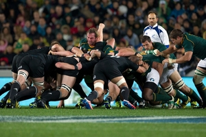 Mike Cron would have something to say about Jannie du Plessis' angle of impact in this scrum.  Photo / Kenny Rodger