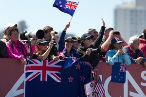 Fans' elation at Team NZ's perfect start in the second race yesterday was shortlived. Photo / Brett Phibbs