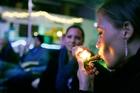Rachel Schaefer of Denver smokes marijuana on the official opening night of Club 64, a marijuana-specific social club in Denver, Colorado.  Photo / AP