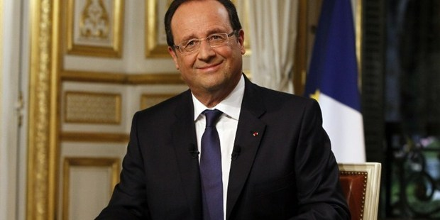French President Francois Hollande poses after an interview during the evening broadcast news of French TV channel TF1. Photo / AFP