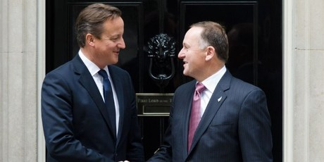 New Zealand Prime Minister John Key (R) meets British Prime Minister David Cameron ahead of a meeting in Downing Street, central London. Photo / AFP