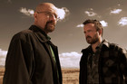 Bryan Cranston as Walter White and Aaron Paul as Jesse Pinkman from Breaking Bad.