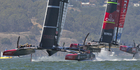 Oracle Team USA gets to the 1st mark ahead of Emirates Team New Zealand, Oracle went on to win Race 12 of the America's Cup. Photo / Brett Phibbs