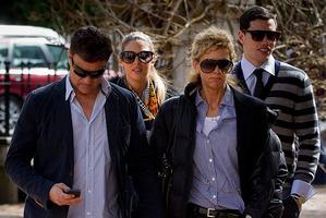 Warren Fenning, left, Jaime Ridge, Sally Ridge and Josh Bloxham arriving at court. Photo / Sarah Ivey