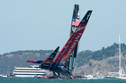 Emirates Team New Zealand gets close to capsizing when hydraulics failed to push the wing through on a tack. Photo / Team NZ