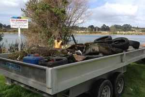 Rubbish which was previously collected from the Wairoa River