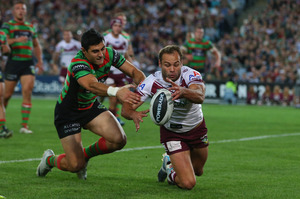 Brett Stewart of the Eagles scores a try. Photo / Getty Images