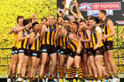 The Hawks celebrates with the Premiership Cup after winning the 2013 AFL Grand Final. Photo / Getty Images