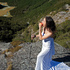 Jennifer Salvage modelling her wedding dress on the Routeburn Track whilst on honeymoon in New Zealand with her husband Jeff Salvage.