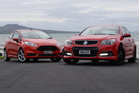Holden's Commodore SS V (right) takes on Ford's Fiesta ST. Photo / David Linklater