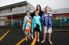 Brock Parker, 9, Jack Childs, 9 and Alex Cook, 8 with Sarah Cook. The children were advised they weren't allowed to swim lengths. Photo / Joel Ford