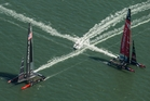 The two giant, skittish, carbon-fibre marvels of engineering provided many tight crosses and near misses over the course of the regatta. Photo / ACEA