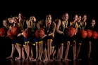 Te Kura o te Koutu girls basketball team led by captain Te Aokahurangi Leach (centre). Photo / Stephen Parker