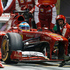 Ferrari driver Fernando Alonso of Spain pulls into the pit during the Singapore Formula One Grand Prix on the Marina Bay City Circuit. Photo / AP