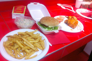 Fries, a burger and roast chicken from Chicken Run.Photo / NZ Herald online