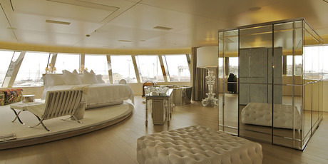 Superyacht 'A's master bedroom. Photo / Anja Wippich