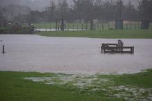 Flooded paddocks in Matakana. Photo / Darrin Franks