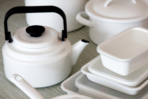 White enamelware. Photo / Babiche Martens