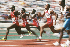 Ben Johnson leads the field in the final of the 100m sprint at the 1988 Seoul Olympics, where he was stripped of his medal after a positive drugs test. Photo / AP