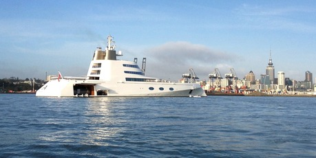 "The Superyacht ""A"" owned by Russian Billionaire Andrey Melnichenko arriving in Auckland. Photo / Greg Bowker"