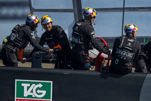 The comeback kings, from left, Ben Ainslie, Tom Slingsby and Jimmy Spithill are on the charge off San Francisco. Photo / Oracle