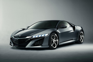 The NSX features lightweight materials and a mid-mounted V6 engine.