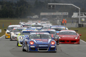The McIntyre/Ellingham Porsche leads the 35-car field away at the start of the opening round of the ASKO Three Hour Endurance Series. Picture / Euan Cameron