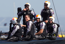Emirates Team New Zealand after their second loss against Oracle Team USA today. Photo / Brett Phibbs