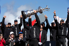 Americans love a comeback, and there it was, Oracle skipper Jimmy Spithill's lips glued to the Auld Mug. Photo / Brett Phibbs