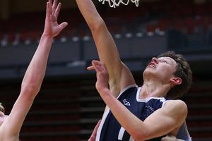 Sam Smith of Tauranga Boys College during a basketball game against Otumoetai College, ASB Arena. Photo / Joel Ford