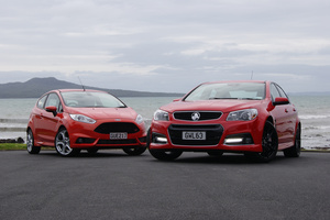 Holden's Commodore SS V (right) takes on Ford's Fiesta ST. Pictures / David Linklater