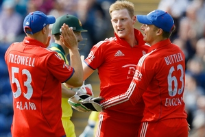 Ben Stokes, second right, will hope to make his test debut for England in Australia. Photo / AP