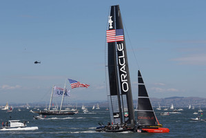 Team NZ wing trimmer Glenn Ashby said it was all very well to catch up to the other boat, but passing them is more difficult. Photo / AP
