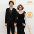 Geoffrey Arend, left, and Christina Hendricks arrive at the 65th Primetime Emmy Awards. Photo / AP