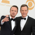 Aaron Paul, left, and Bryan Cranston arrive at the 65th Primetime Emmy Awards. Photo / AP
