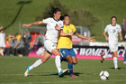 Football Fern Abby Erceg during the New Zealand v Brazil game at the Valais Cup at Chatel-St-Denis Switzerland.