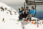 Skiers and snowboarders head up the mountain at Turoa Skifield on Mount Ruapehu. Photo / Malcolm Pullman