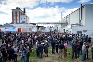 About 2000 drought-stricken farmers from all over the North Island soak up the goodwill of sponsors during the Drought Shout at Tui Brewery.