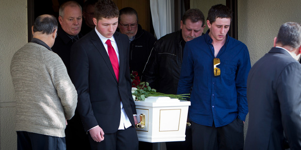Matt Christison and brother Daniel Christison pictured during the funeral of Gail Bowers.
