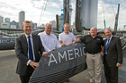 Jonathan Coleman (left) with Iain Murray, Jimmy Spithill, Mark Turner and Len Brown at the commissioning of the first AC45 yacht in 2011. Photo / NZPA
