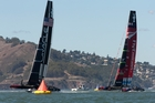 The drag created by Team NZ's hoisted but furled code zero sail may have them the race. Photo / Brett Phibbs