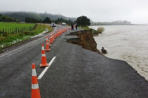 A large dropout at Turitaka, south of Tikitiki, on State Highway 35 has been caused by the storm lashing much of New Zealand. Photo / Gisborne Herald