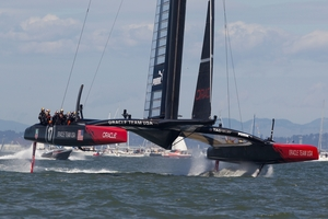 Team Oracle USA may have won, but much of its boat was designed and built in New Zealand. Photo / Brett Phibbs