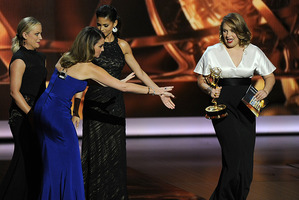 Merritt Wever accepts the Emmy for Best Supporting Actress in a Comedy. Photo / AP