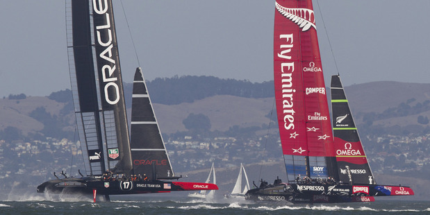 Winner takes all. Oracle Team USA and Emirates Team NZ race off for the America's Cup today. Photo / Brett Phibbs
