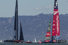 Emirates Team New Zealand lead Oracle Team USA 8-5 heading into today's racing. Photo / Bretty Phibbs