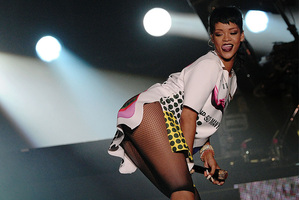 Rihanna performs on the sidelines of the Formula One Singapore Grand Prix race. Photo / AP