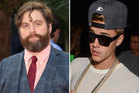 Hangover star Zach Galifianakis is seen whipping Justin Bieber with a belt in an online skit. Photos / Getty Images