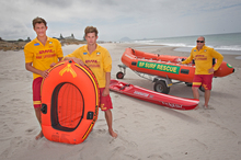 Papamoa Surf Lifesaving Club lifeguards Sam Casey (left) and Hamish Smith were surprised when they were called to rescu