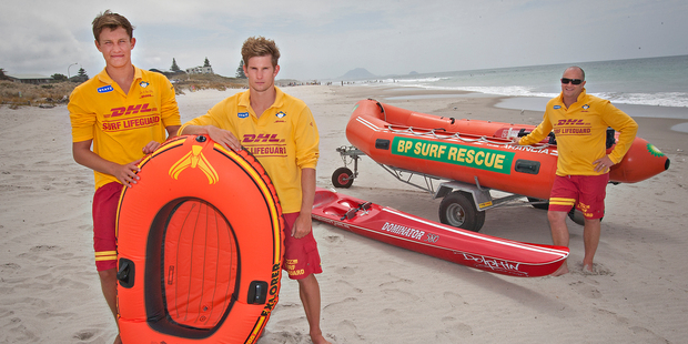 Papamoa Surf Lifesaving Club lifeguards Sam Casey (left) and Hamish Smith were surprised when they were called to rescue two men in a small inflatable boat exactly like the one pictured. Photo / Stephen Parker